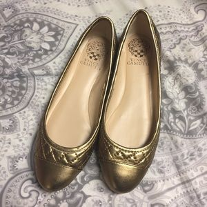 Vince Camuto Gold Ballet Flats